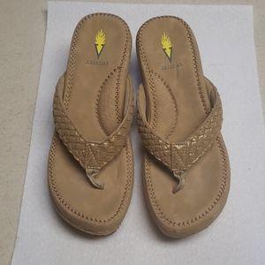 Volatile Gold/Tan Wedge Sandals Size 8 Women's EUC
